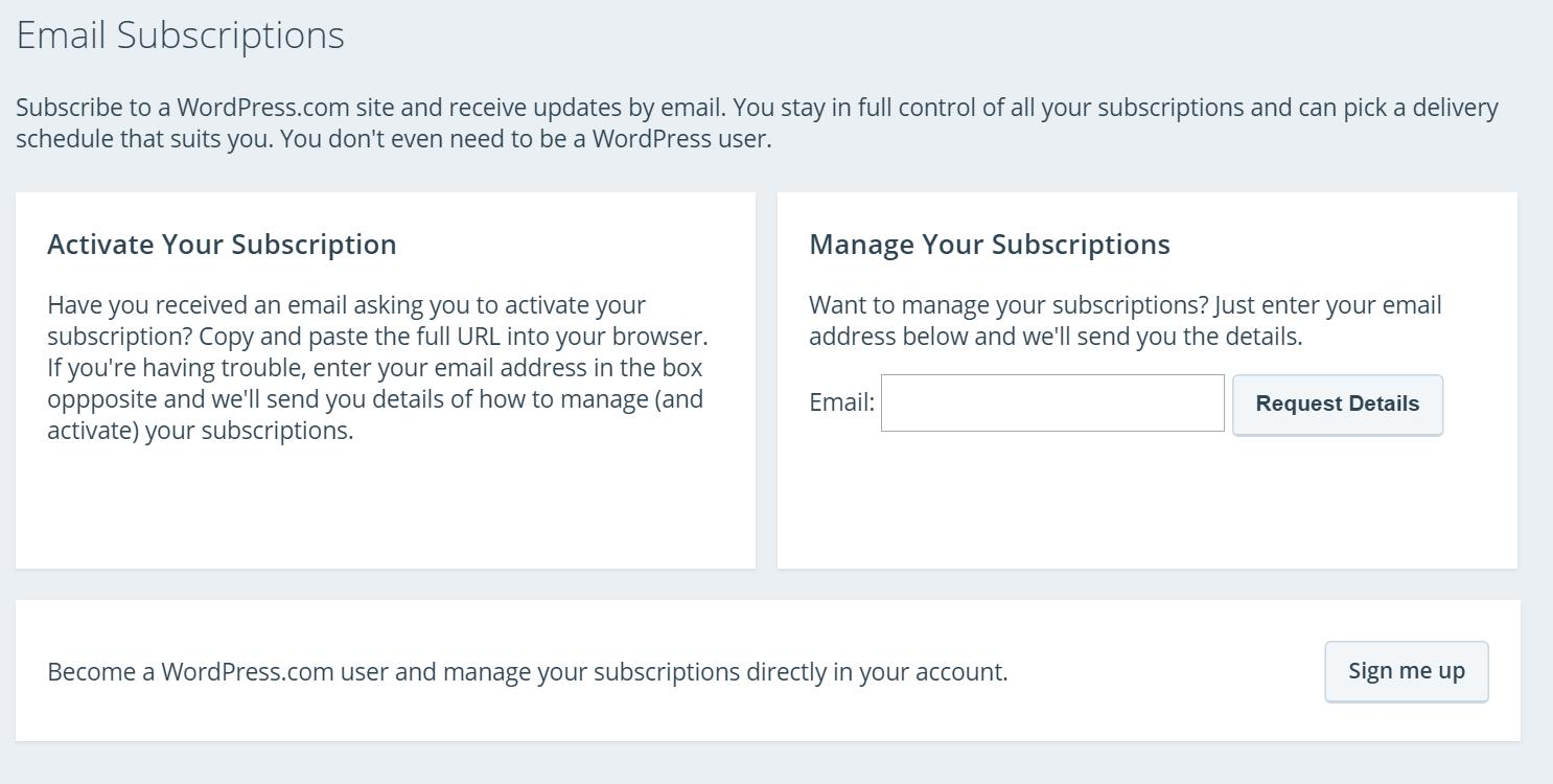 Wordpress Manage Subscriptions